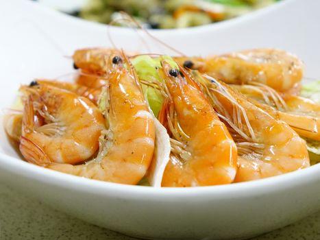 Photo free shrimp, plate, vegetables