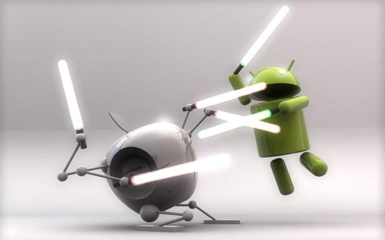 Фото бесплатно Android против Apple, битва, роботы