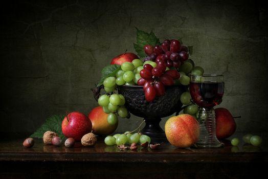 Бесплатные фото натюрморт,фрукты,виноград,яблоки,еда