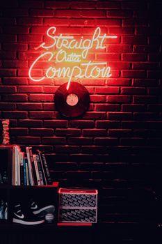 Photo free vinyl record, neon light, wall