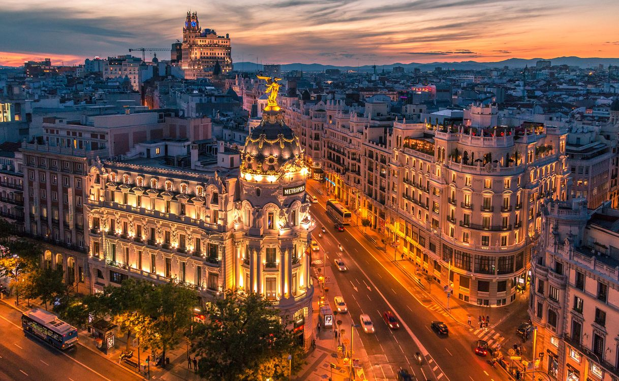 Обои Madrid, Spain, Мадрид, Испания, город, ночь, огни картинки на телефон