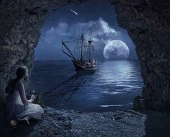 Бесплатные фото ночь,луна,море,пещера,арка,корабль,девушка