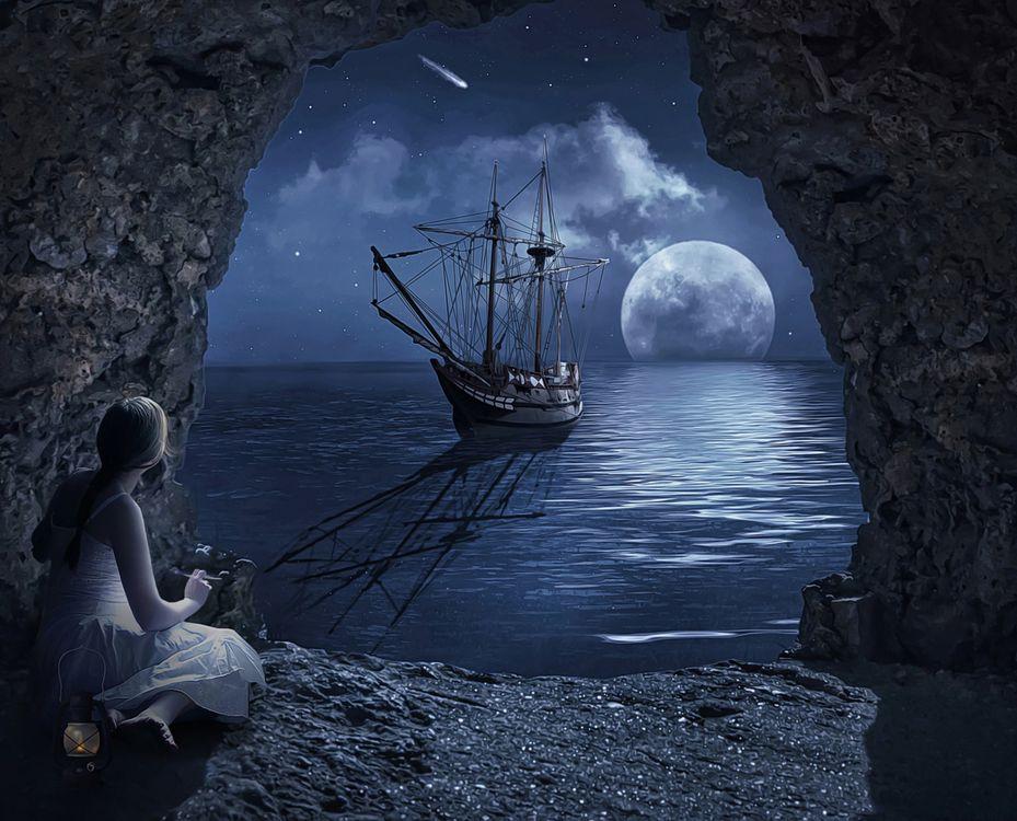 Фото бесплатно ночь, луна, море, пещера, арка, корабль, девушка, фантазия, art, рендеринг
