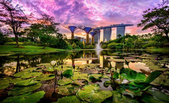 Фото бесплатно Sunset, Marina Bay Sands, Singapore