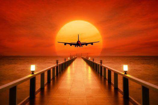 Фото бесплатно самолет, закат, пирс