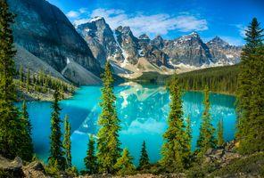 Фото бесплатно горы, деревья, Озеро Морейн