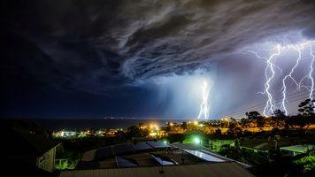 Фото бесплатно Молния над Аделаидой, Южная Австралия, шторм
