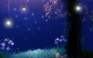 Заставки дерево, лампы, цветы