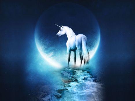 Заставки волшебные, единорог, луна