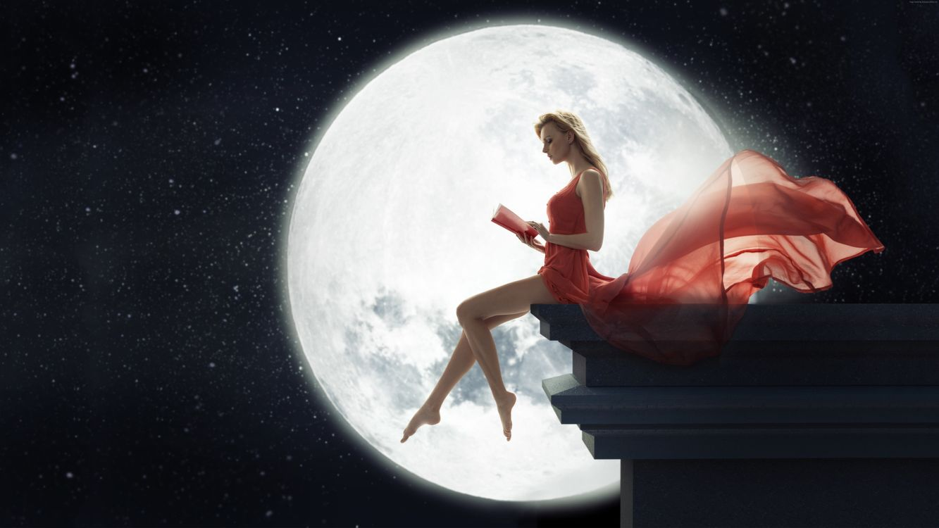 Фото бесплатно девушка в красном, обрыв скалы, большая Луна - на рабочий стол