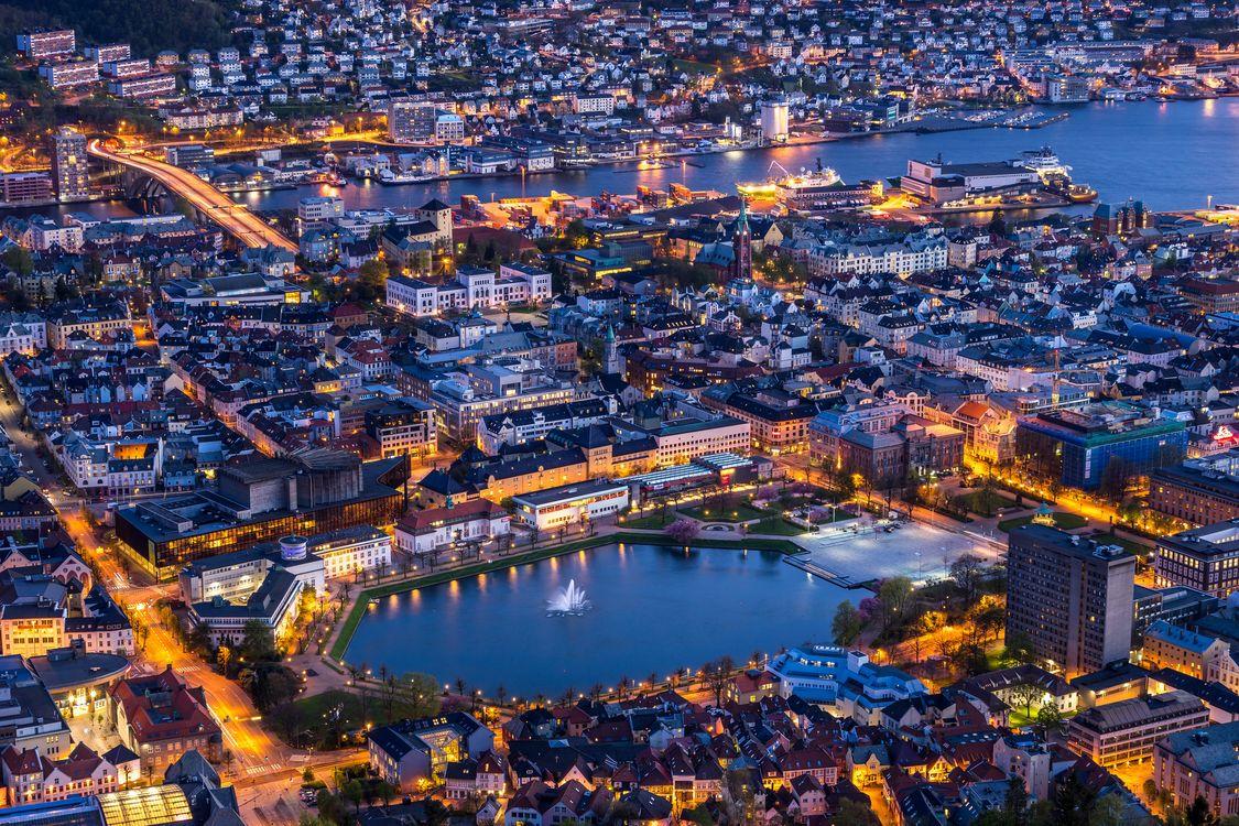 Фото бесплатно ночной город, огни, Bergen - на рабочий стол