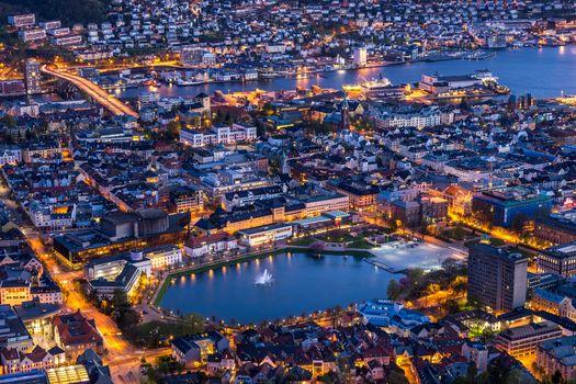 Фото бесплатно ночной город, огни, Bergen