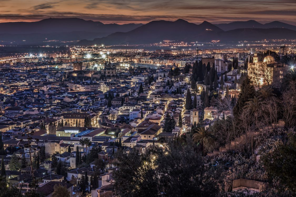 Фото бесплатно Ночной городской пейзаж Granada, Гранада, Испания - на рабочий стол