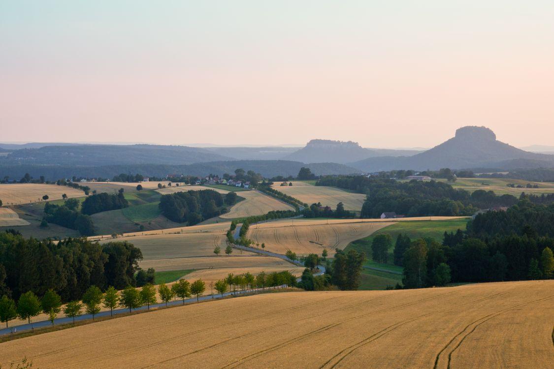 Фото бесплатно пейзаж, долина, поля, холмы, Kohlmuehle, Saxony, Germany, пейзажи