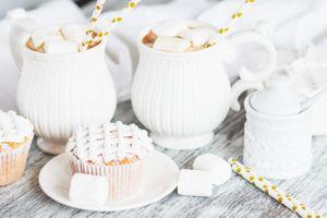 Фото бесплатно кофе, пирожные, зефир