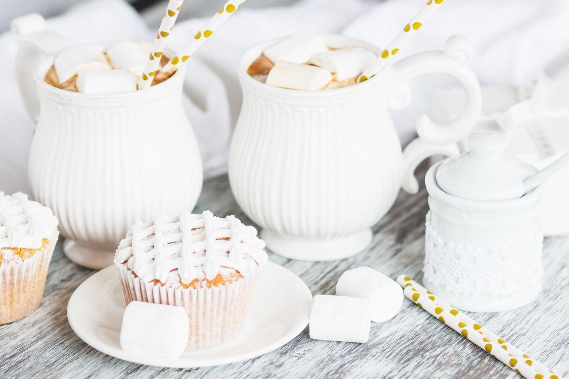 Фото бесплатно кофе, пирожные, зефир - на рабочий стол