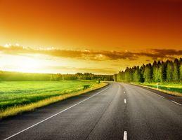 Бесплатные фото закат,дорога,поле,лес,деревья,небо,пейзаж