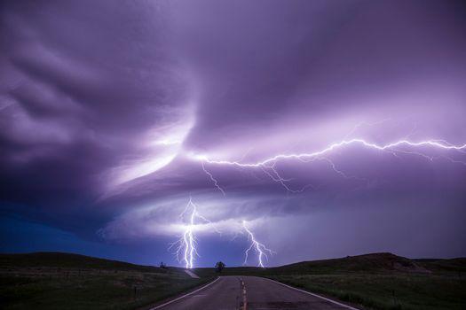 Заставки дорога, тучи, молния