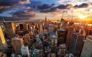 Заставки Нью-Йорк,США,город,сумерки,закат