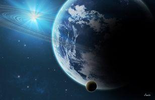 Фото бесплатно планета, кольца, космос, звезды, спутник, орбита