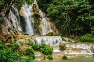 Бесплатные фото Азия,Лаос,Луанг Прабанг,водопады Куанг,речка,лес,деревья