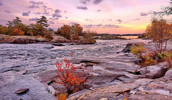 Бесплатные фото Онтарио,Канада,осень,озеро,река,скалы,камни,деревья,закат,пейзаж