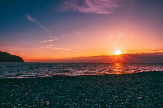 Фото бесплатно закат, побережье, горизонт