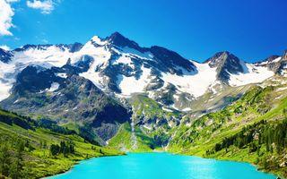 Фото бесплатно солнце, гора, снег, холмы, озеро, трава, лето, пейзаж, природа, отражение