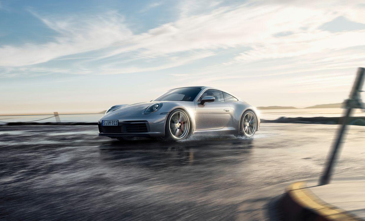 Фото бесплатно Porsche 911, серебристый, скорость - на рабочий стол
