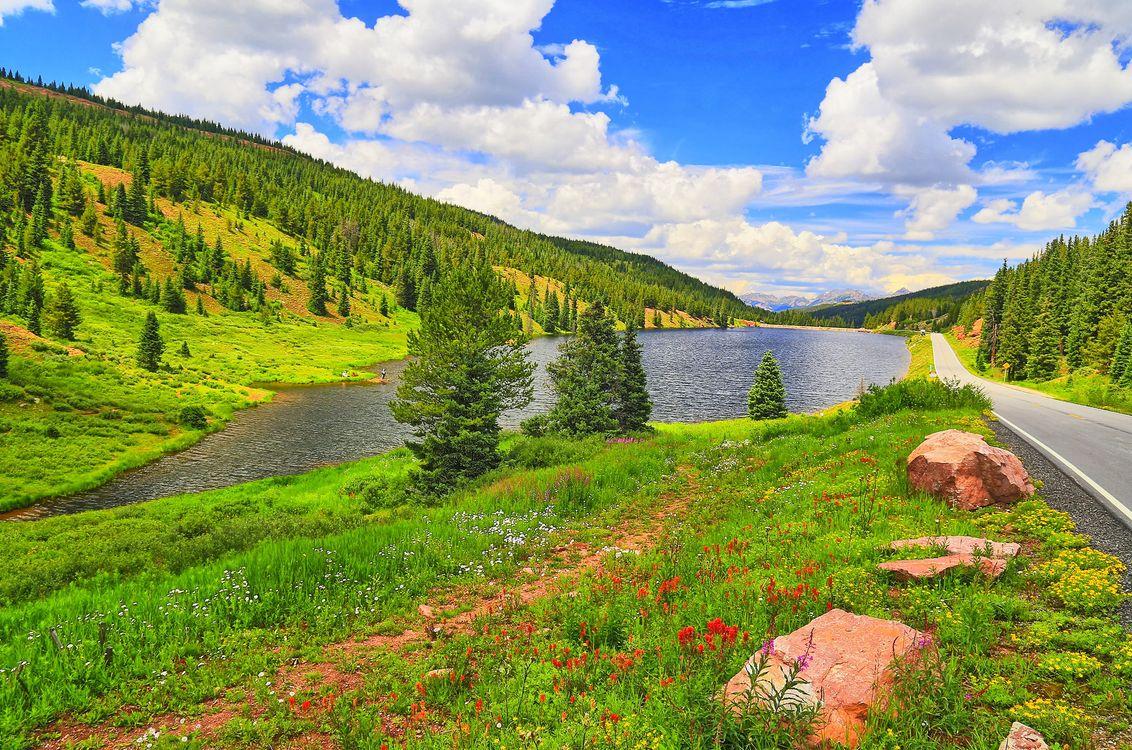 Фото бесплатно озеро, дорога, горы - на рабочий стол