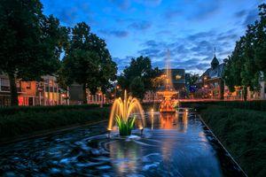 Бесплатные фото Арнем,Нидерланды,город,дома,бассейн,фонтан,деревья