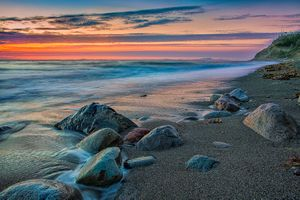 Бесплатные фото Государственный парк Форт Эбей,остров Уидби,Видны острова Сан-Хуан,закат,море,пляж,берег