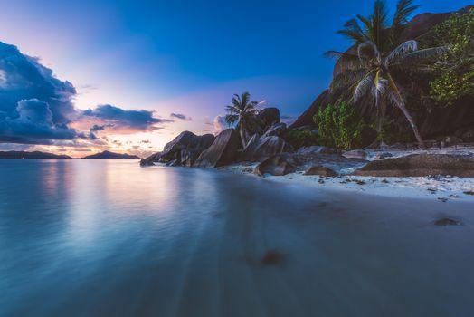 Заставки Сейшельские Острова, закат, пляж