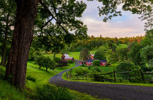 Фото бесплатно Летний вечер в Помфрете, Вермонт, дорога