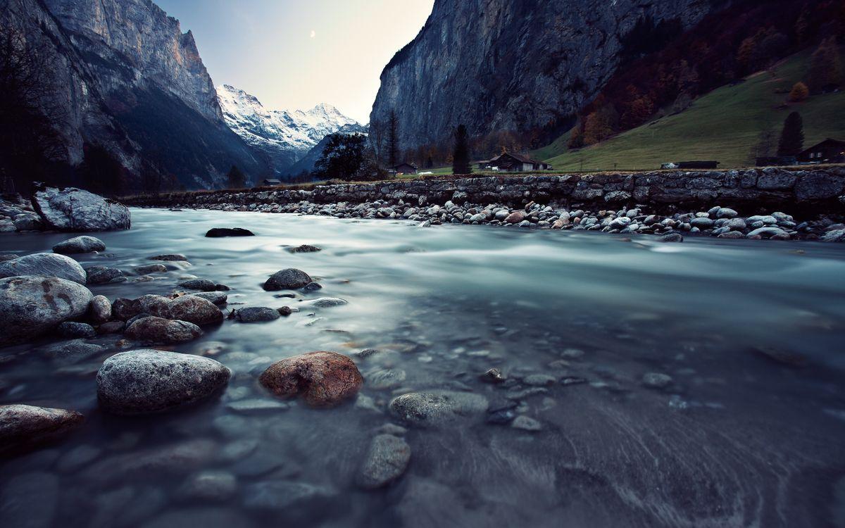 Фото бесплатно природа, пейзаж, река, горы, камни, швейцария, пейзажи
