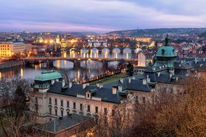 Photo free bridges, town, Prague