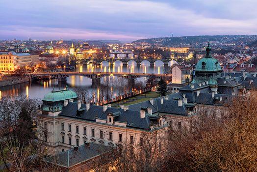 Заставки мосты, город, Прага
