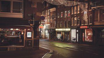 Бесплатные фото Амстердам,Нидерланды,дом,улица,ночь,город,дорога