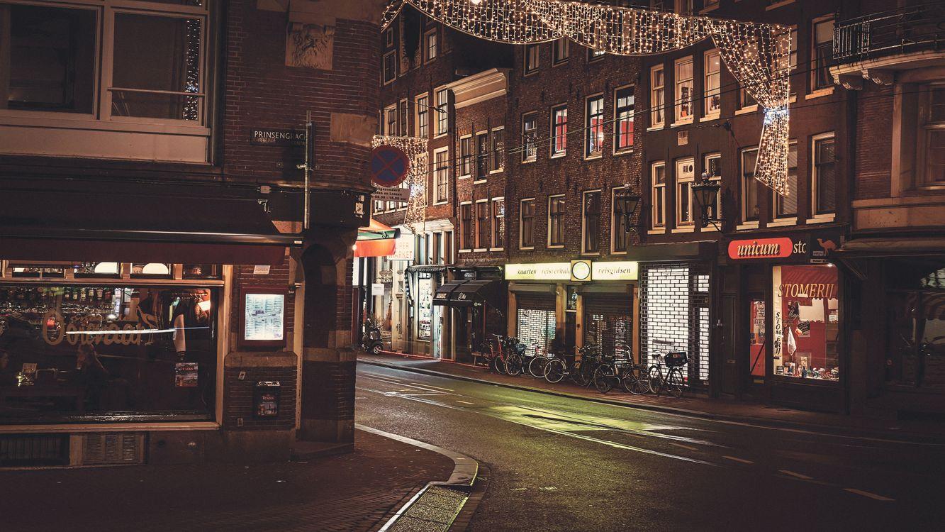 Обои Амстердам, Нидерланды, дом, улица, ночь, город, дорога, городской пейзаж, фотография на телефон   картинки город - скачать