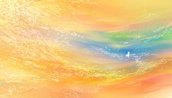 Photo free anime landscape, girl, orange theme