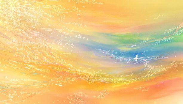 Фото бесплатно аниме пейзаж, девушка, тема оранжевый