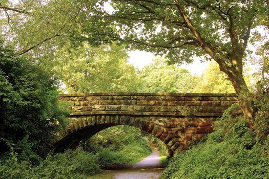 Photo free bridge, arch bridge, stone walls