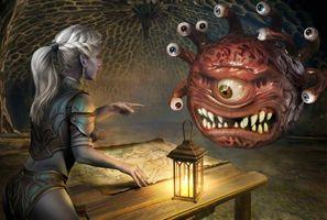 Фото бесплатно девушка, монстр, фонарь