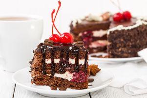 Бесплатные фото крем,шоколад,бисквит,вишня