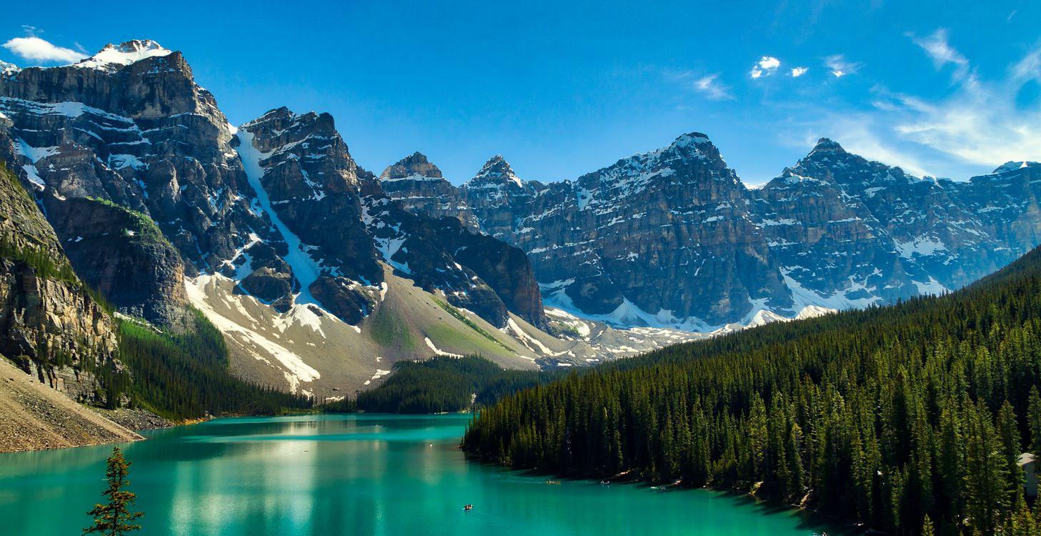 Фото бесплатно Lake Moraine, Canada, Озеро Морейн, Альберта, Канада, озеро, горы, деревья, скалы, пейзаж, пейзажи
