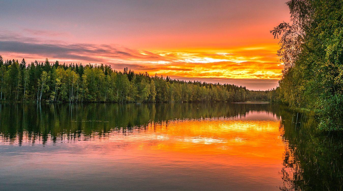 Янтарный закат Финляндии · бесплатное фото