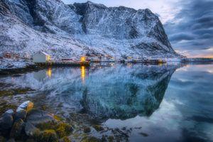 Бесплатные фото Лофотенские острова,Норвегия,закат,горы,море,водоём,отражение