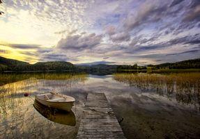 Заставки облака, озеро, лодка