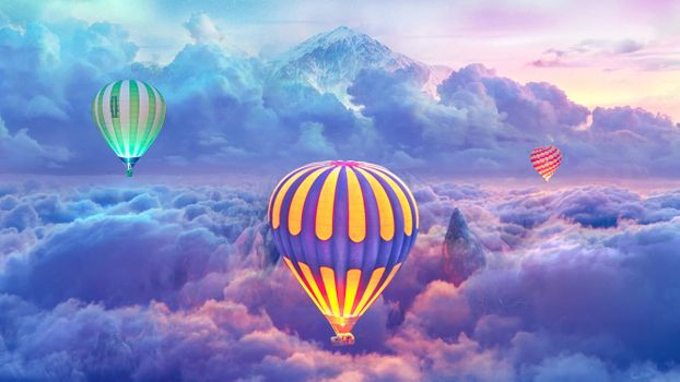 Заставки воздушный шар, полет, облака