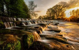 Бесплатные фото Burley in Wharfedale,Западный Йоркшир,Англия,Великобритания,закат,рассвет,водопад